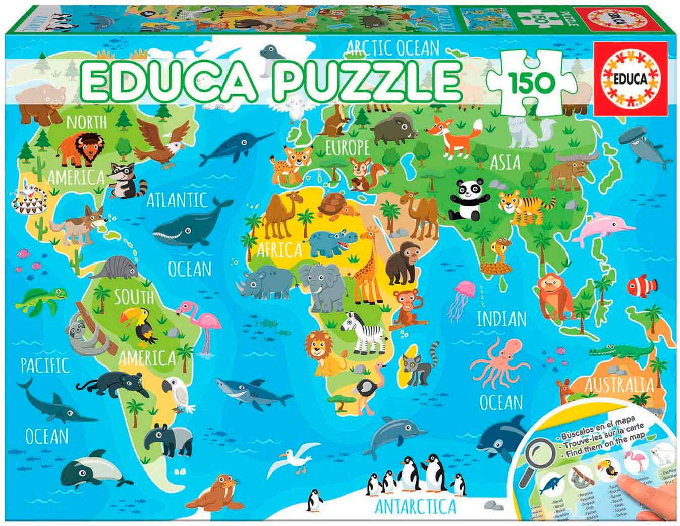 Puzzle Educa Mapamundi Animales de 150 Piezas