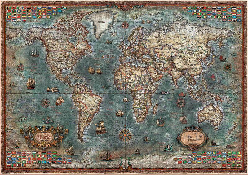 Puzzle Educa Mapamundi Histórico de 8000 Piezas