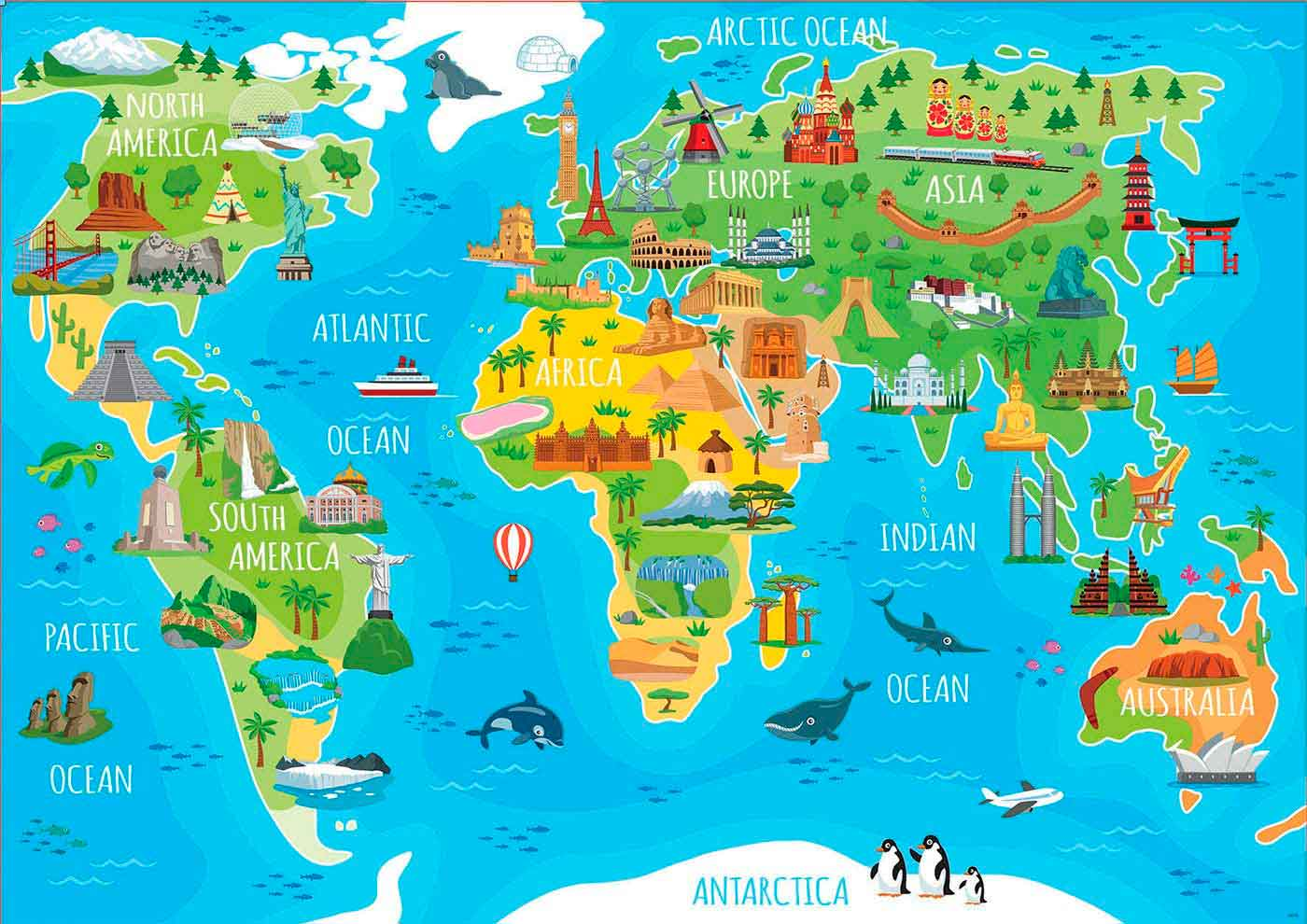 Puzzle Educa Mapamundi Monumentos de 150 Piezas