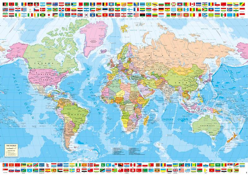 Puzzle Educa Mapamundi Político de 1500 Piezas