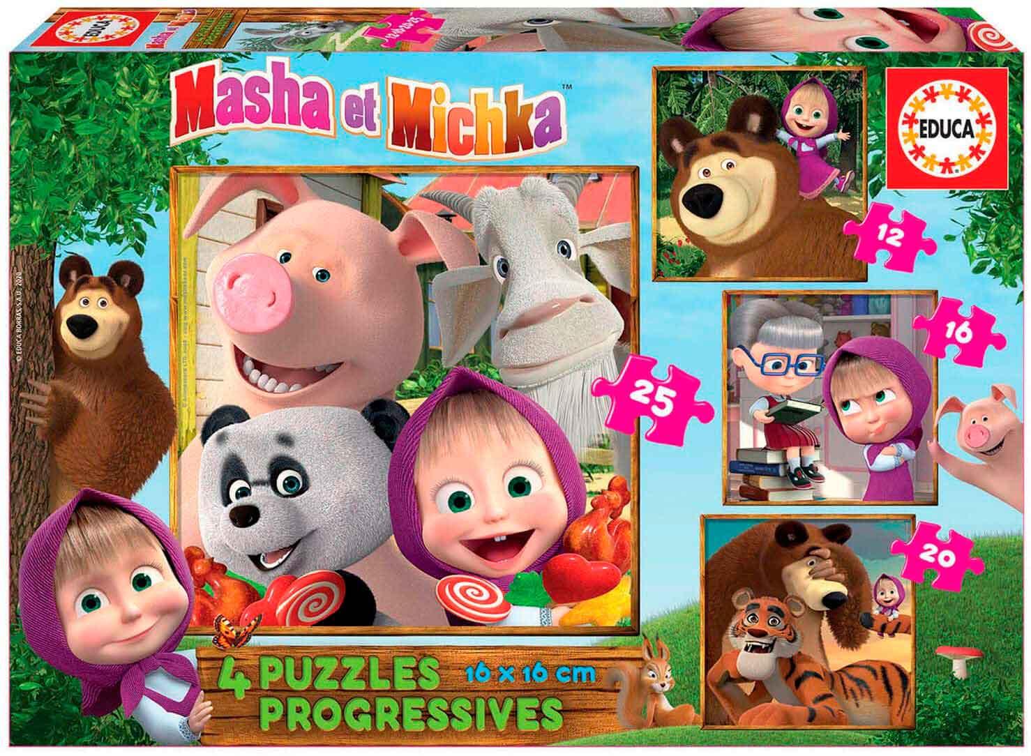 Puzzle Educa Masha y Michka Progresivo 12+16+20+25 Pzs