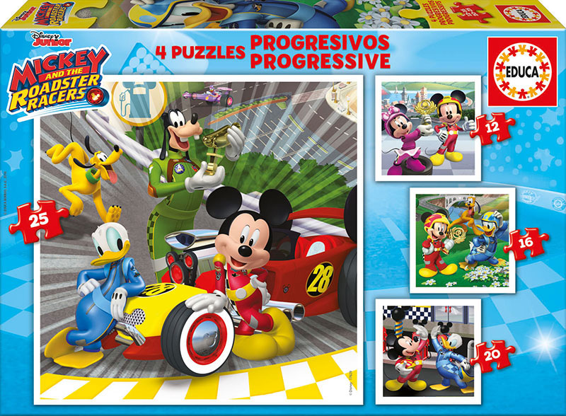 Puzzle Educa Mickey y los Superpilotos Progresivos 12+16+20+25 P