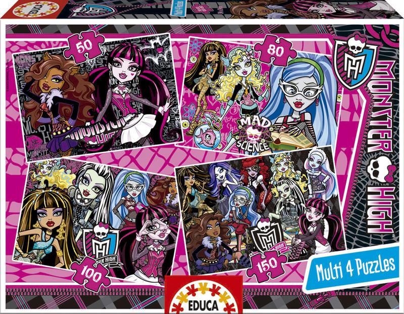 Puzzle Educa Monster High Multi 4Progresivo 50+80+100+150