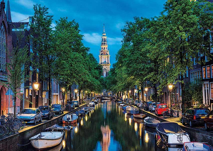 Puzzle Educa Oscurece en el Canal de Amsterdam 1500 Piezas