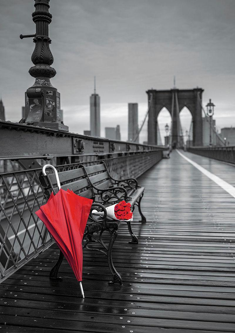 Puzzle Educa Paraguas Rojo, Puente de Brooklyn de 1000 Piezas