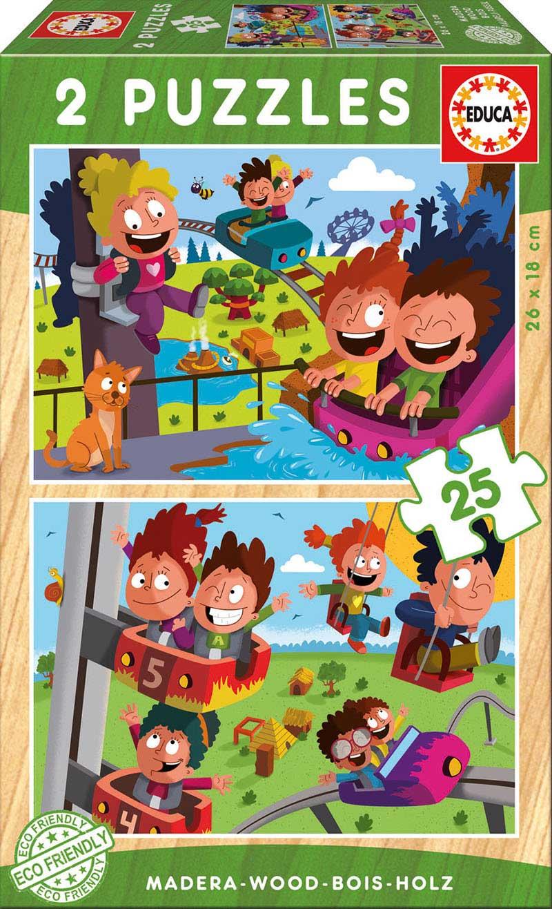 Puzzle Educa Parque de Atracciones de 2 x 25 Piezas Madera