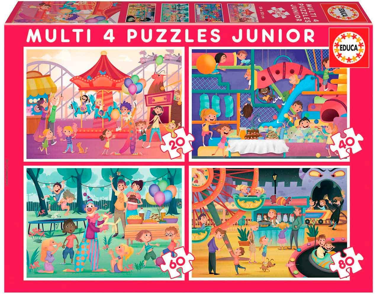 Puzzle Educa Parque + Fiesta Infantil  Progresivo 20+40+60+80 pz