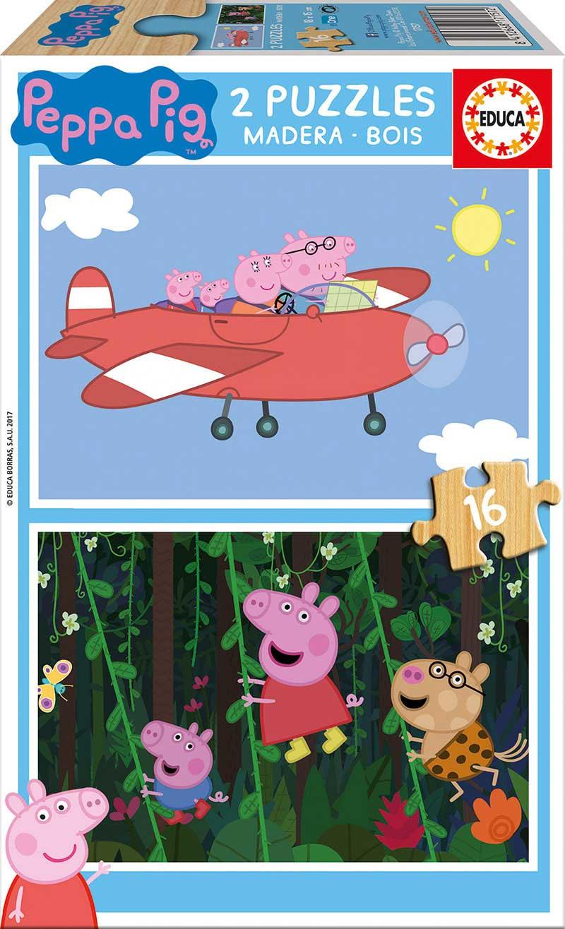 Puzzle Educa Peppa Pig 2 x 16 Piezas Madera