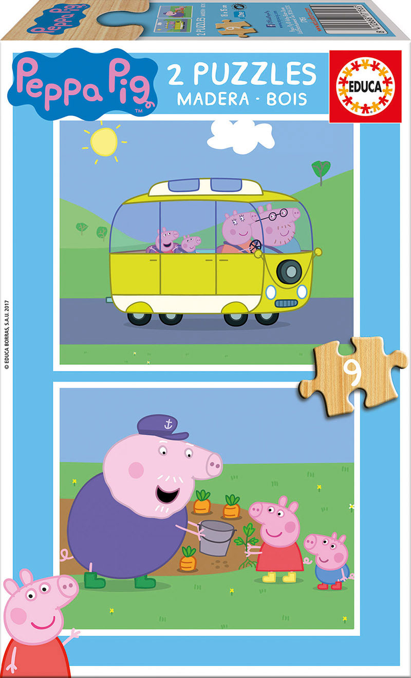 Puzzle Educa Peppa Pig 2 x 9 Piezas Madera