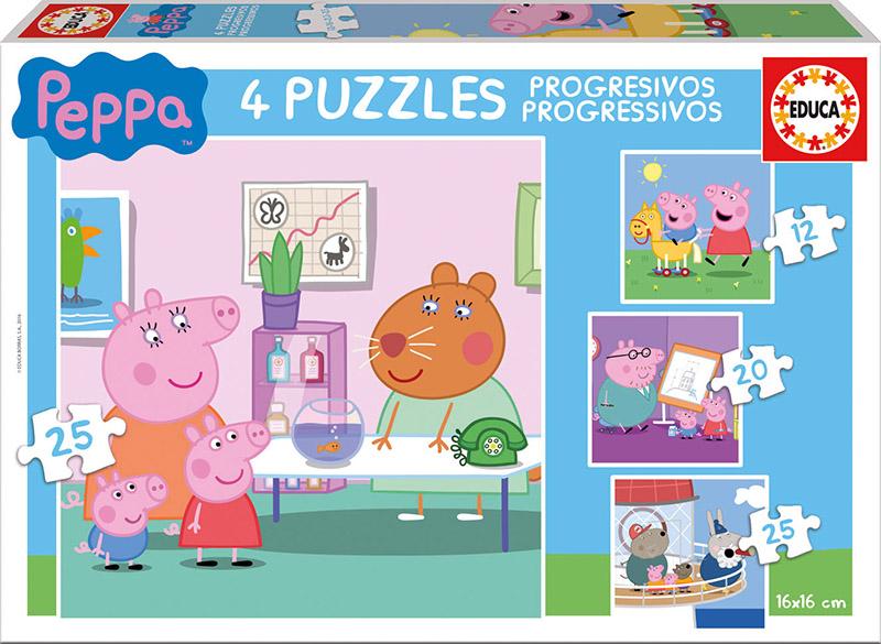 Puzzle Educa Peppa Pig Progresivo 12+16+20+25 Piezas