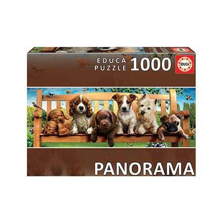 Puzzle Educa Perritos en el Banco Panorama de 1000 Pzs