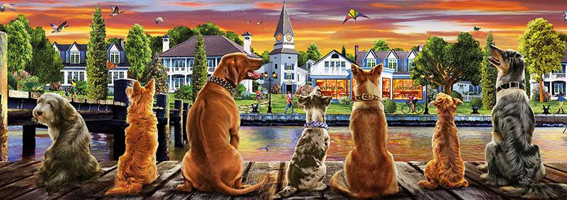 Puzzle Educa Perros en el Embarcadero de 1000 Piezas