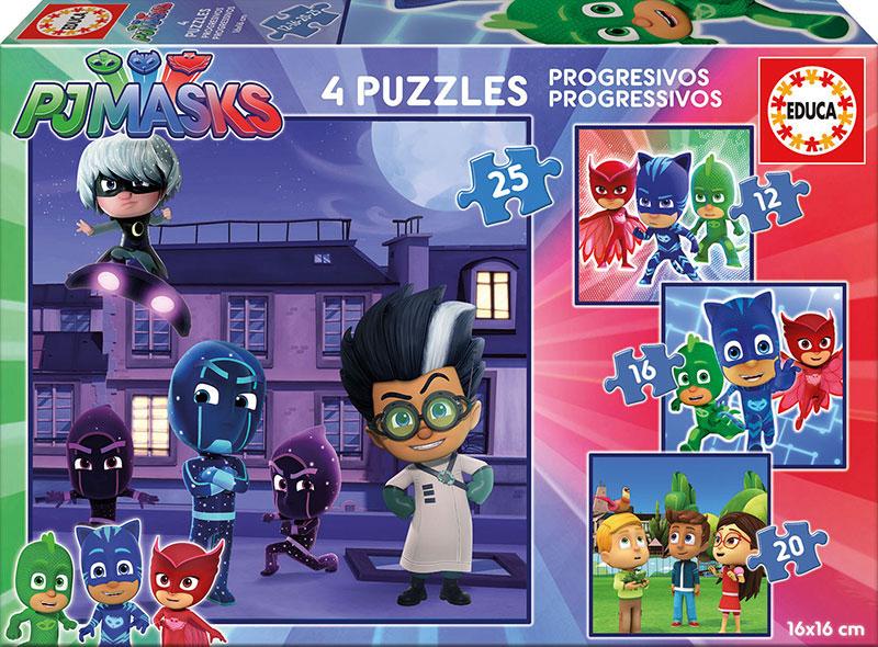 Puzzle Educa PJ Masks Progresivos 12+16+20+25 Pzs