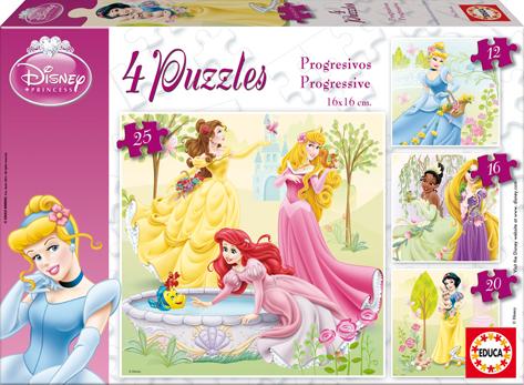 Puzzle Educa Princesas Progresivo 12+16+20+25 Piezas