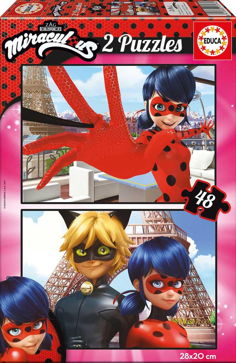 Puzzle Educa Prodigiosa: Las Aventuras de Ladybug de 2 x 48 Pzs
