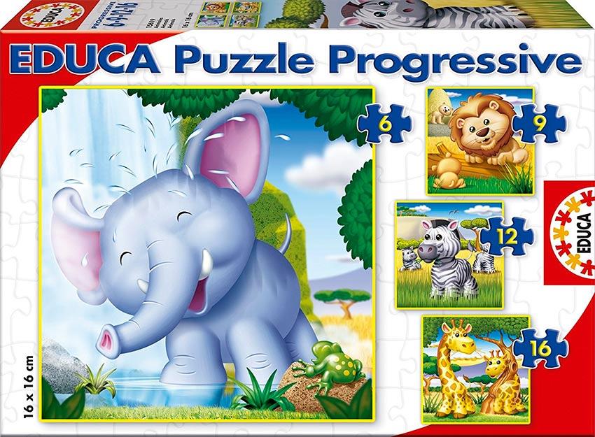Puzzle Educa Progresivo Animales Salvajes  6+9+12+16 Piezas