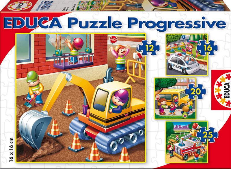 Puzzle Educa Progresivo Vehículos 6+9+12+16 Piezas