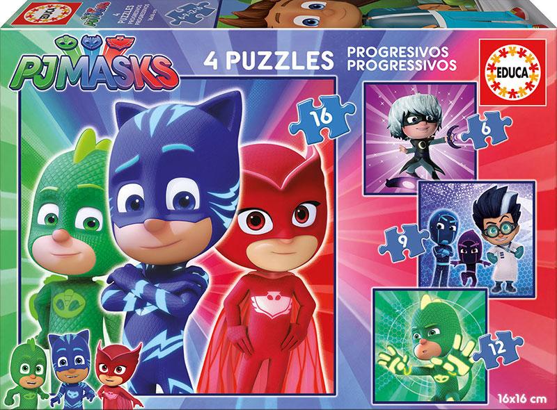 Puzzle Educa Progresivos PJ Masks 6+9+12+16 Pzs