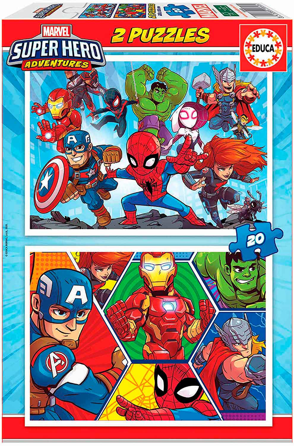 Puzzle Educa Super Hero Adventures 2 x 20 Piezas