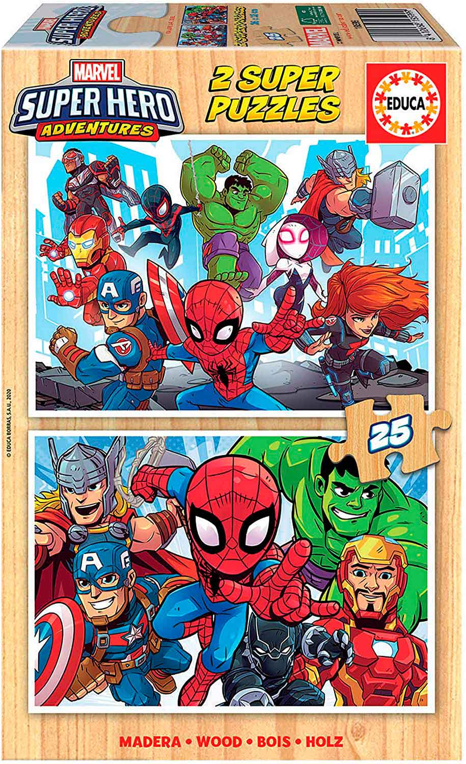 Puzzle Educa Super Hero Adventures de 2 x 25 Piezas Madera
