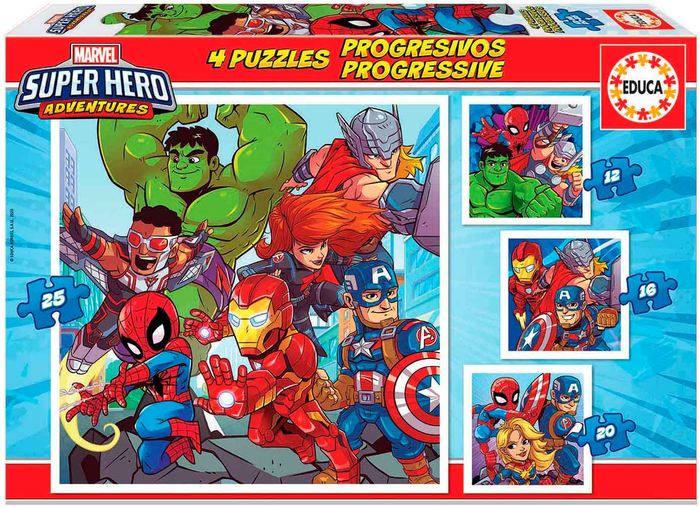 Puzzle Educa Super Hero Adventures Progresivos 12+16+20+25 Pzs