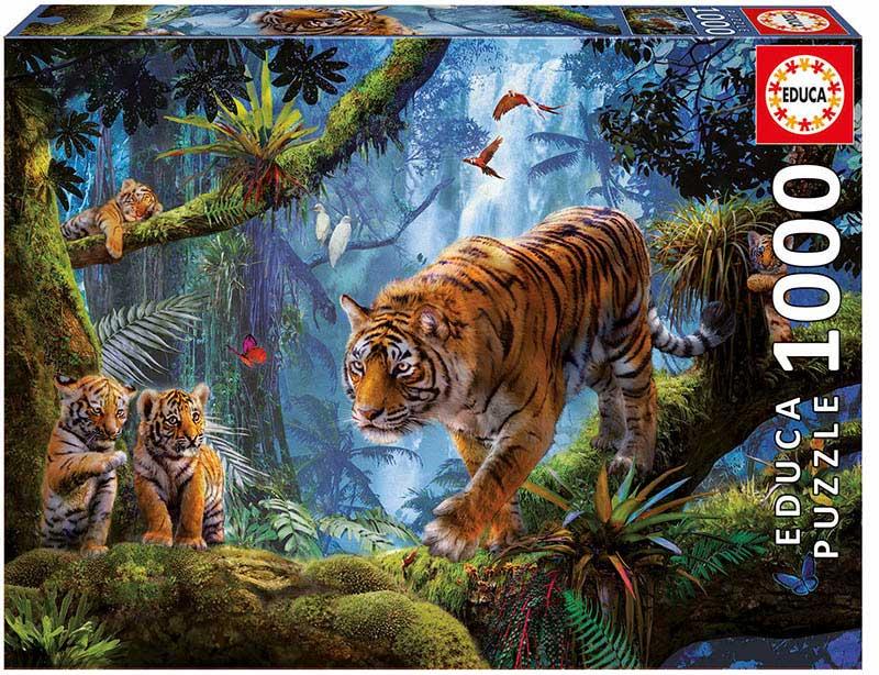 Puzzle Educa Tigres en el Árbol de 1000 Piezas