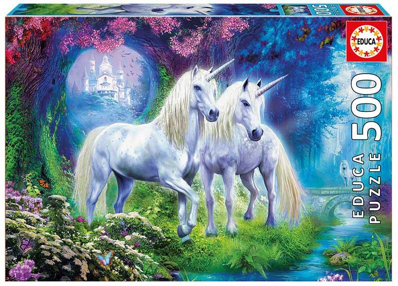 Puzzle Educa Unicornios en el Bosque de 500 Piezas