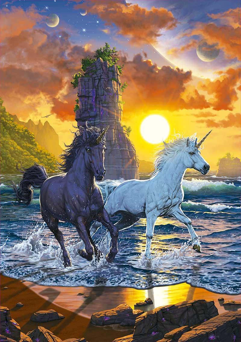 Puzzle Educa Unicornios en la Playa de 1000 Piezas