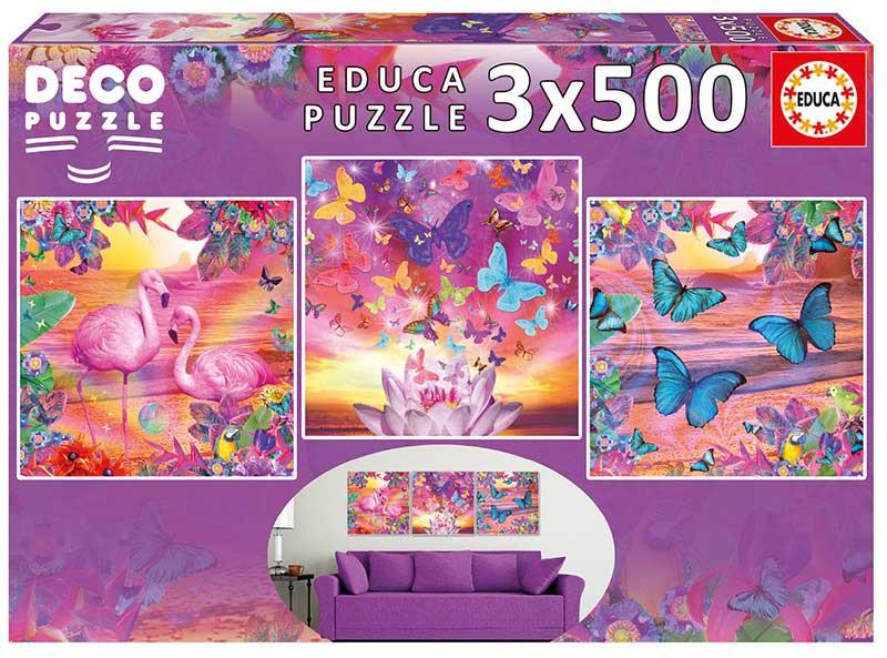 Puzzle Educa Vistas Tropicales de 3 x 500 Piezas