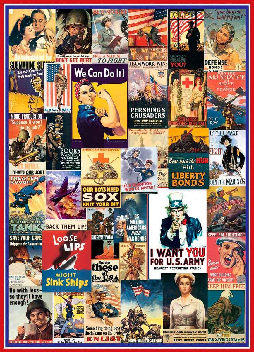 Puzzle Eurographics Afiches de la 1ª y 2ª Guerra Mundial de 1000