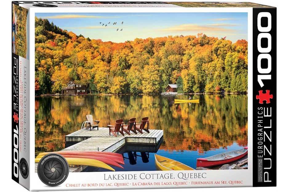 Puzzle Eurographics Cabaña en el Lago, Quebec de  1000 Piezas