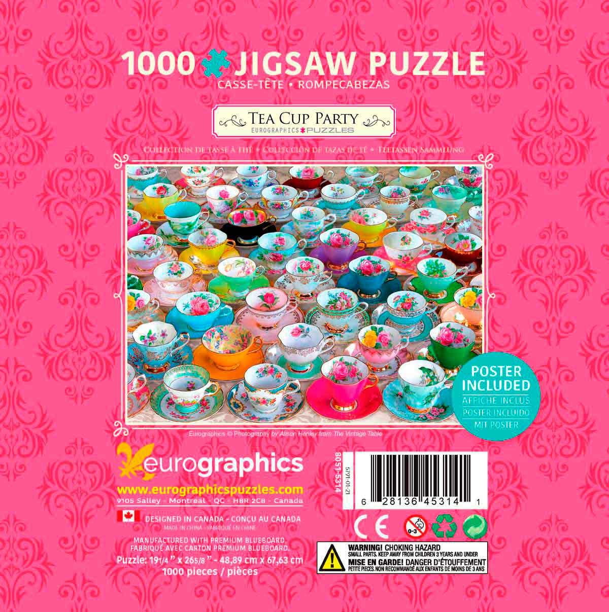 Puzzle Eurographics Colección Tazas de Te, Lata de 1000 Pzs