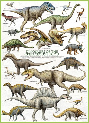 Puzzle Eurographics Dinosaurios del Periodo Cretácico de 1000 Pi