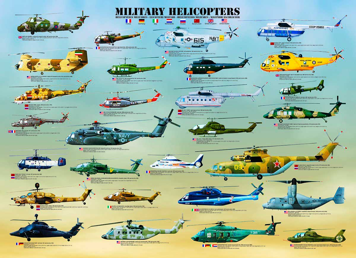 Puzzle Eurographics Helicópteros Militares de 1000 Piezas