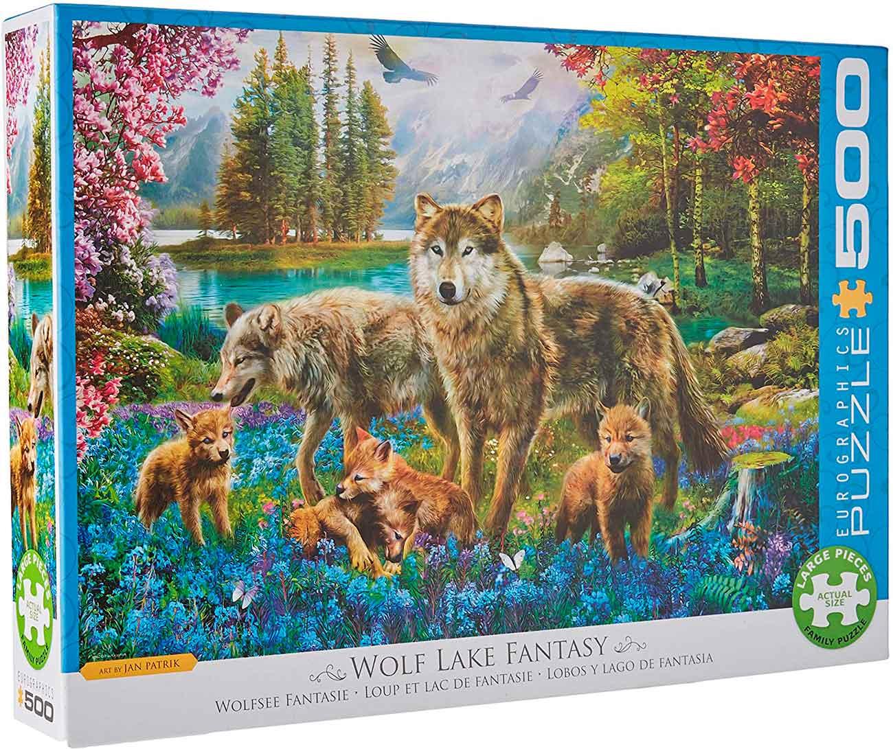 Puzzle Eurographics Lobos y Lago de Fantasía XXL de 500 Piezas