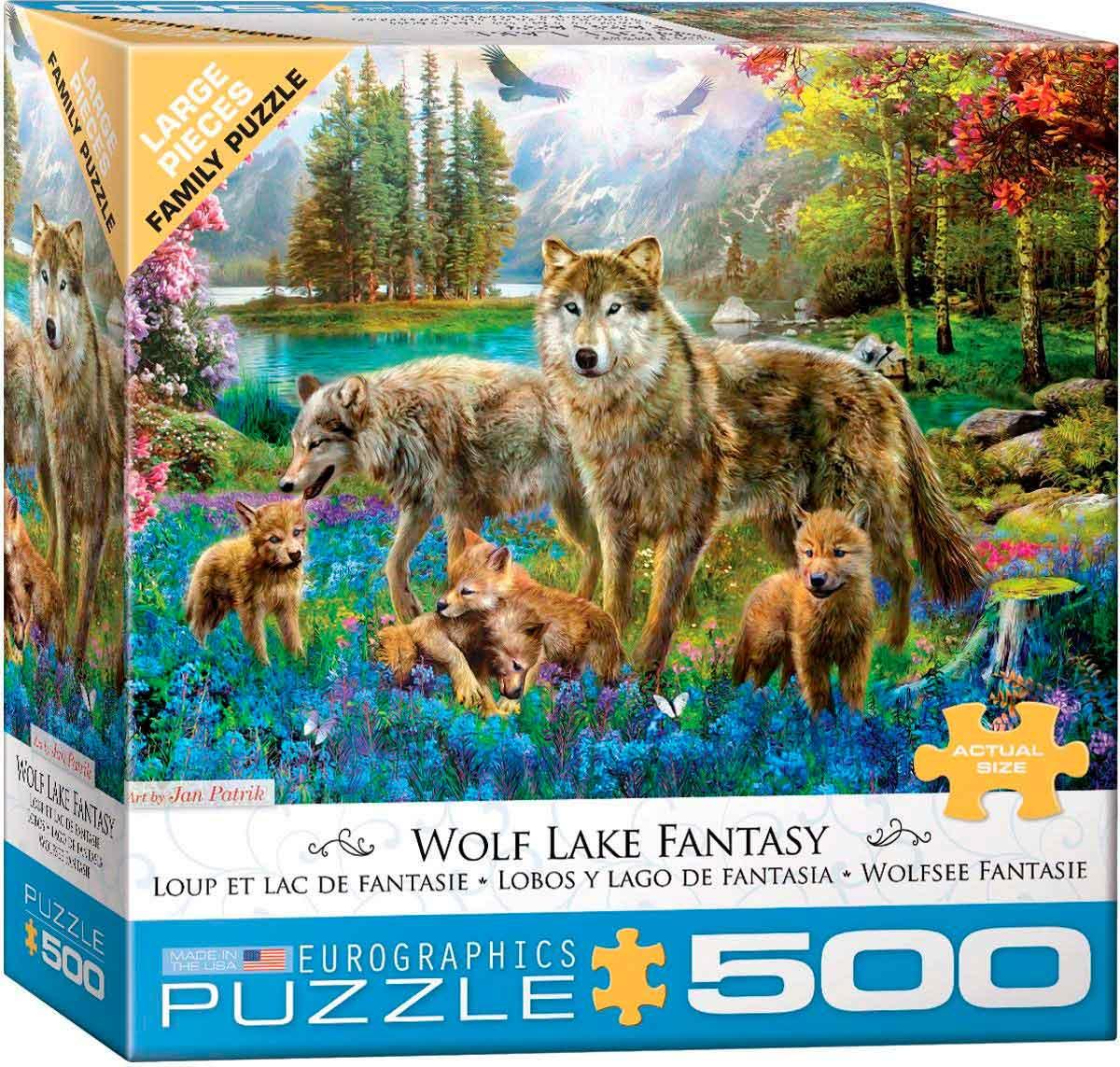 Puzzle Eurographics Lobos y Lago de Fantasía de 500 Piezas