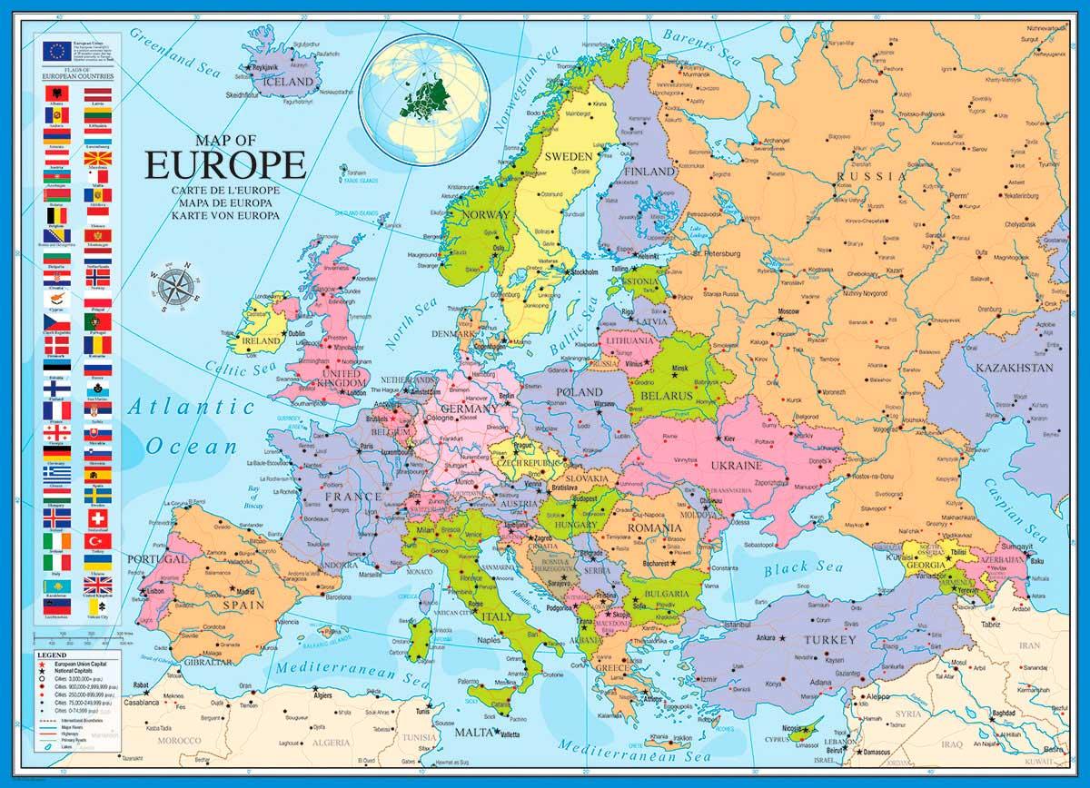 Puzzle Eurographics Mapa de Europa de 1000 Piezas