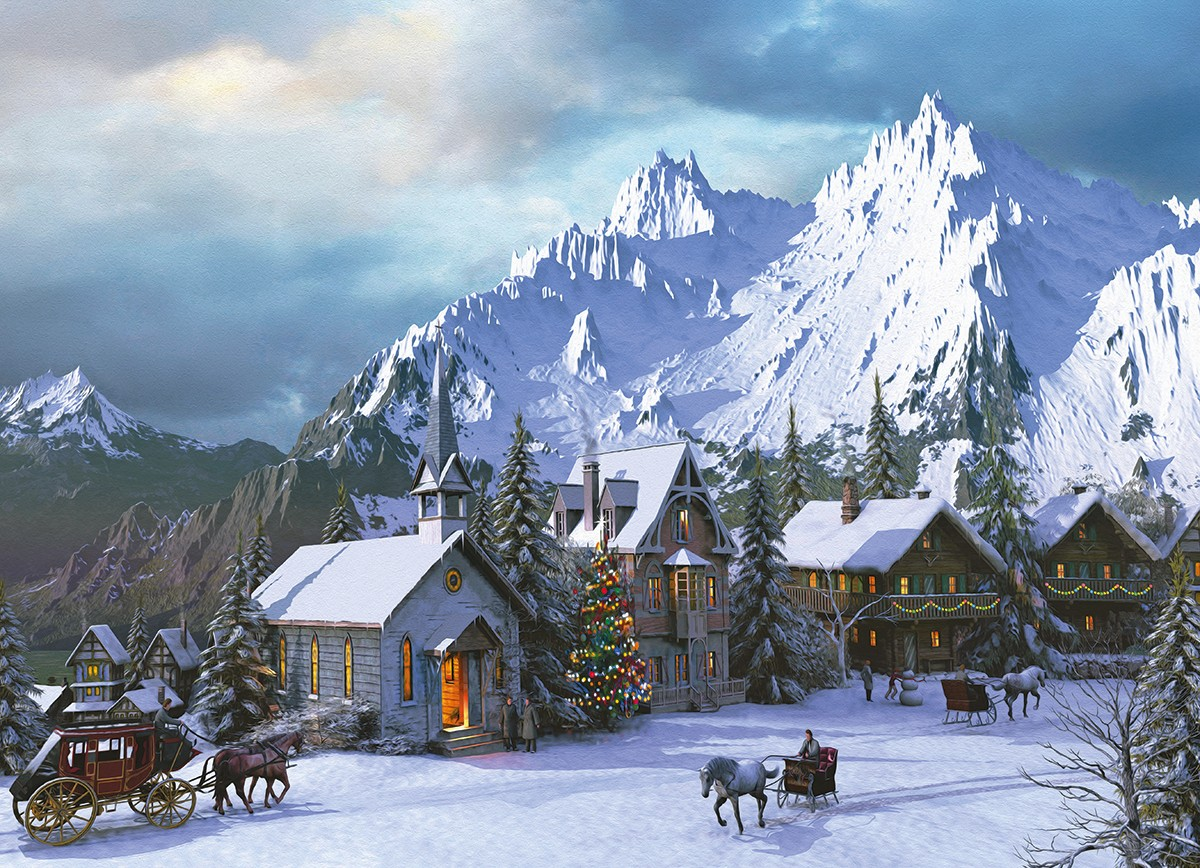Puzzle Eurographics Rocky Mountain Christmas de 1000 Piezas