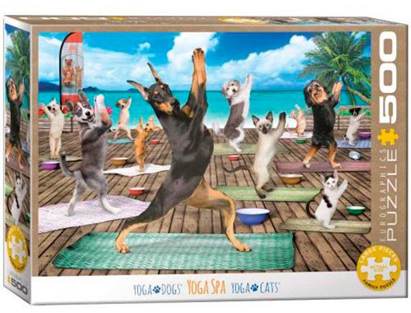 Puzzle Eurographics Yoga con Perros y Gatos XXL de 500 Piezas