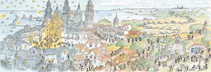 Puzzle Fabio Vettori Panorámica de Santiago de Compostela 1080