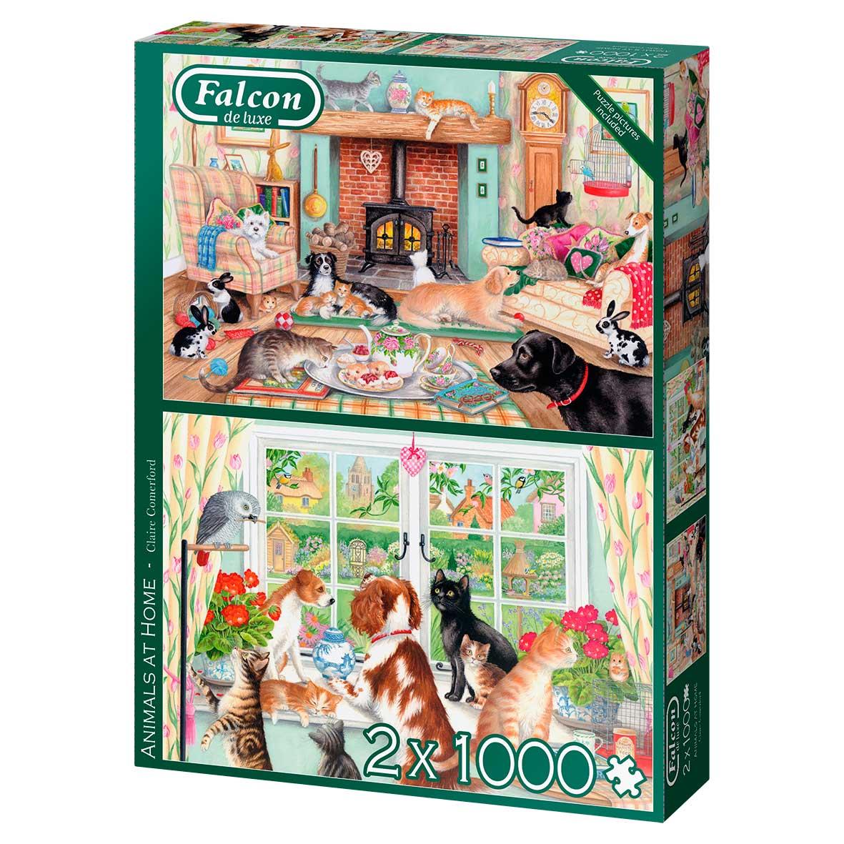 Puzzle Falcon Animales en Casa de 2 x 1000 Piezas