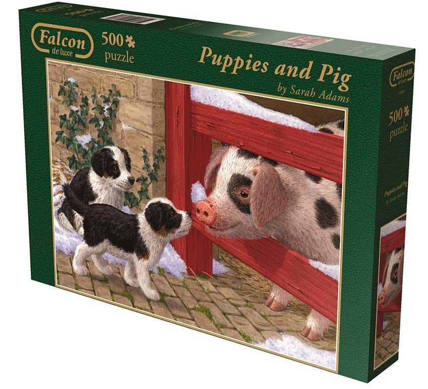 Puzzle Falcon Cachorros con el Cerdo de 500 Piezas