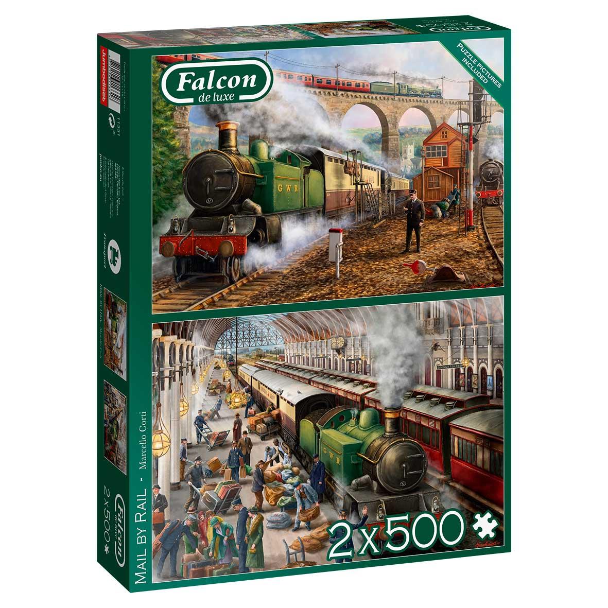 Puzzle Falcon Correo Por Tren de 2 x 500 Pzs
