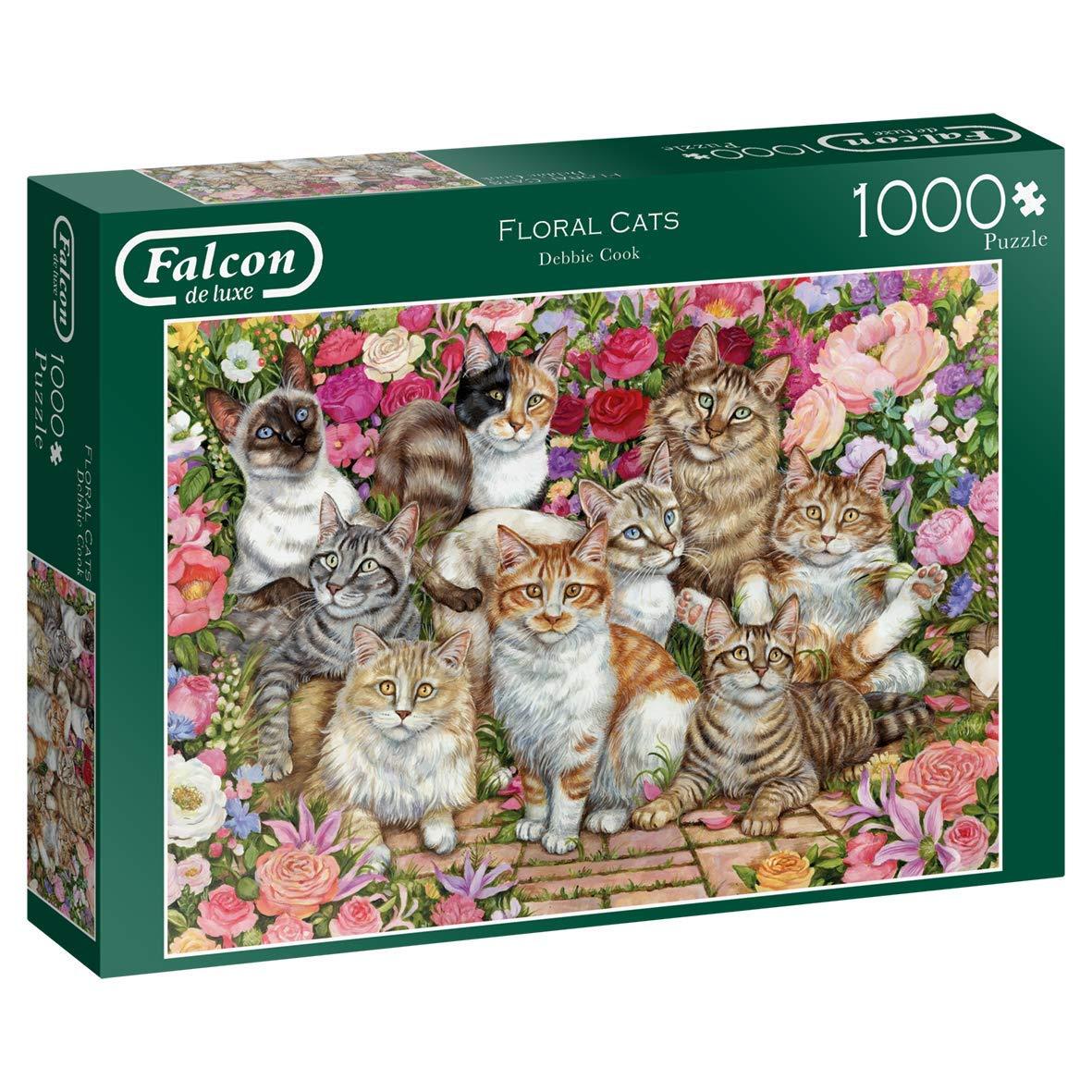 Puzzle Falcon Gatos en las Flores de 1000 Piezas