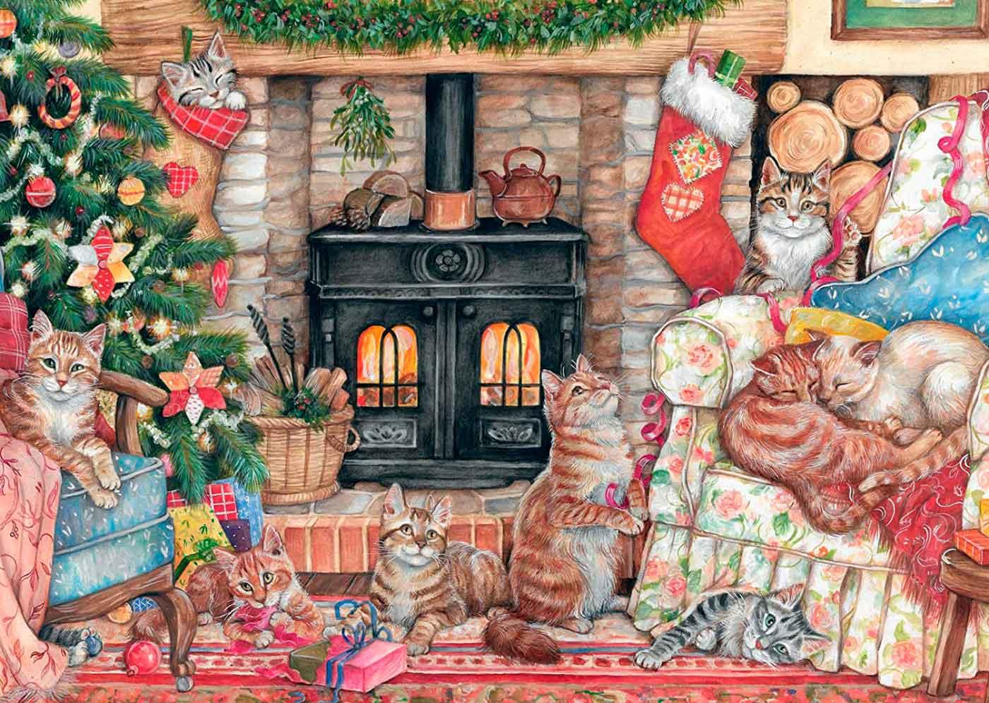 Puzzle Falcon Gatos en Navidad de 500 Piezas