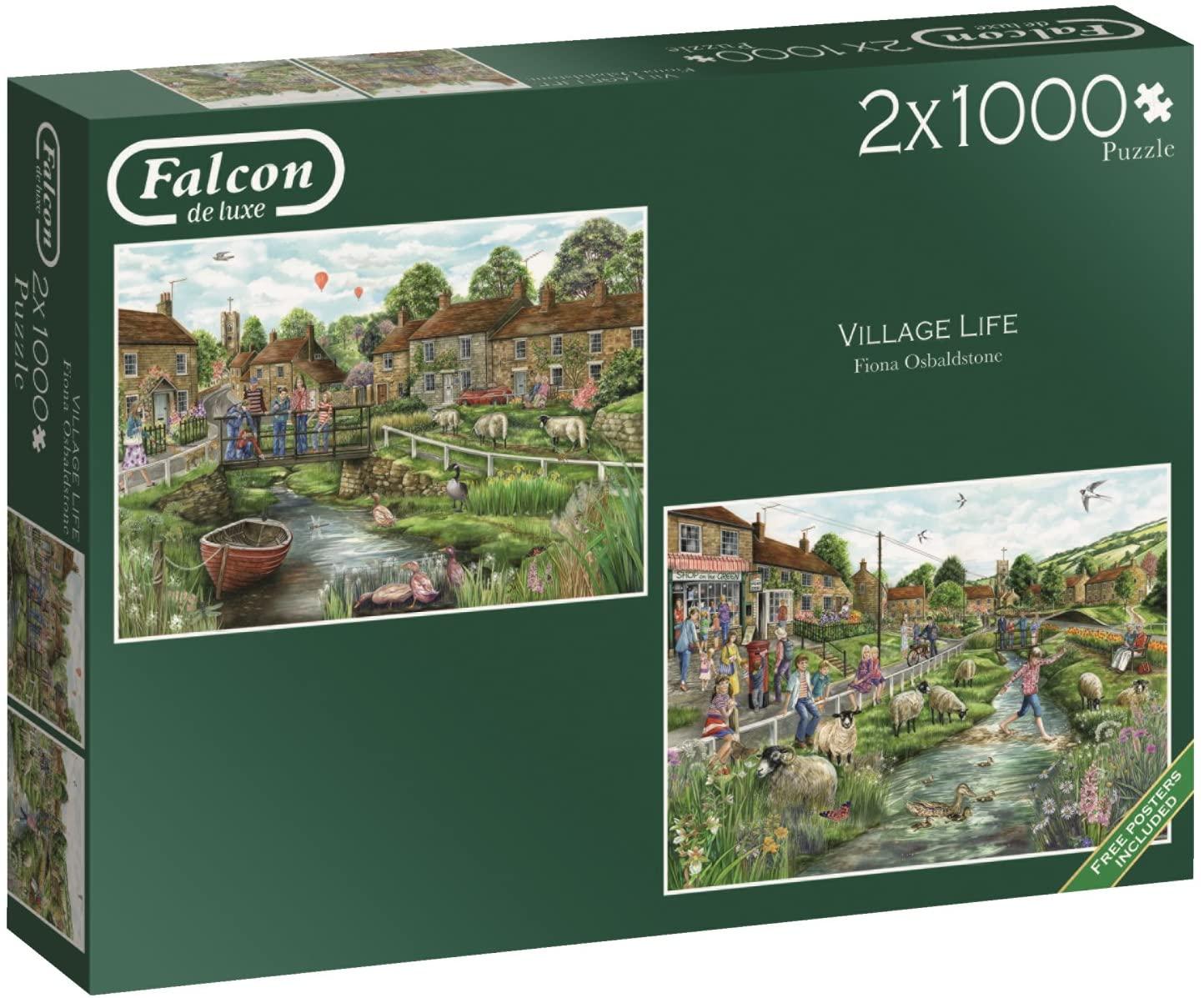 Puzzle Falcon La Vida del Pueblo 2 x 1000 Piezas