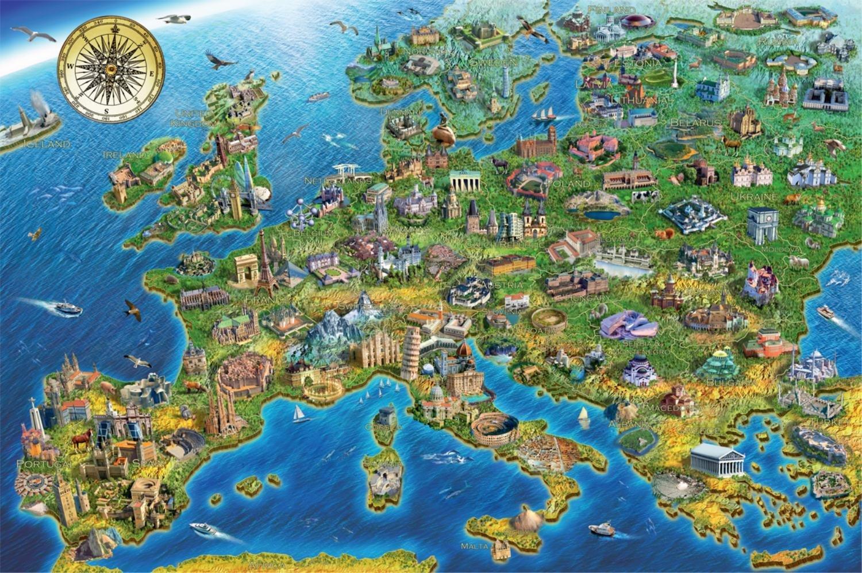 Puzzle Falcon Mapa de Europa de 1500 Piezas