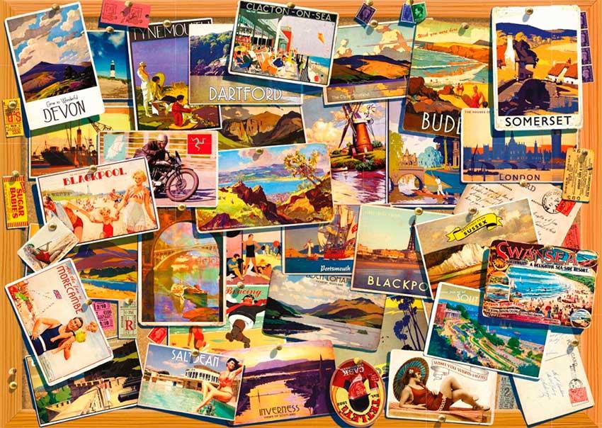 Puzzle Falcon Postales antiguas de 500 Piezas