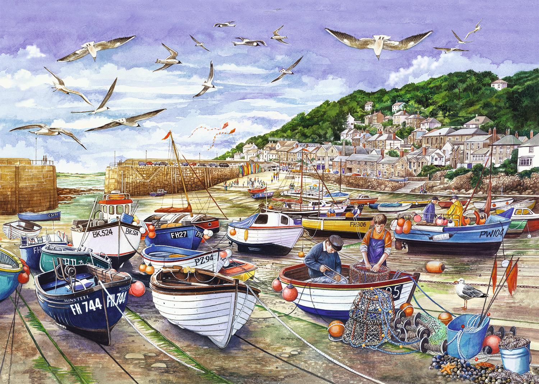 Puzzle Falcon Redes de Pesca, Cornwall de 1000 Piezas
