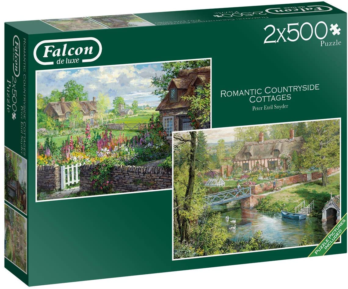 Puzzle Falcon Románticas Casas de Campo de 2 x 500 Pzs